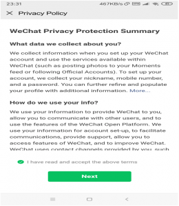 wechat privacy policy