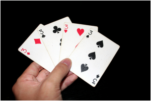 four 3's in a standard deck of cards